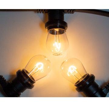 Amlux Zwarte prikkabel met warm  witte gebogen filament LED kogellampen