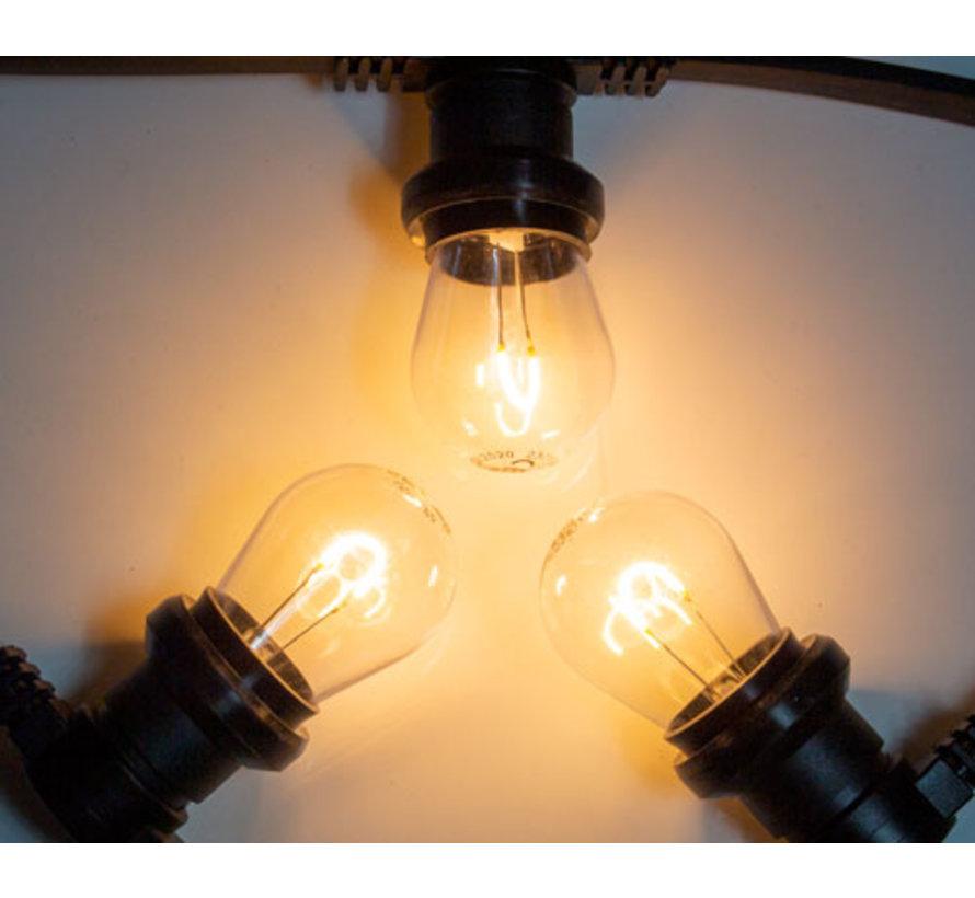 Zwarte prikkabel met warm  witte gebogen filament LED kogellampen