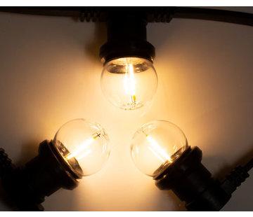 Amlux Zwarte prikkabel met warm  witte filament LED kogellampen
