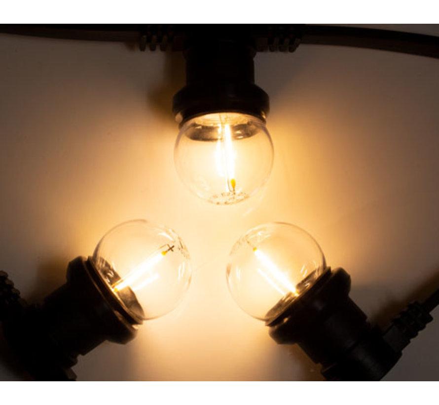 Zwarte prikkabel met warm  witte filament LED kogellampen