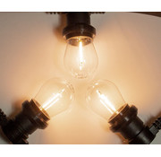 Amlux Zwarte prikkabel met warm  witte filament LED lampen