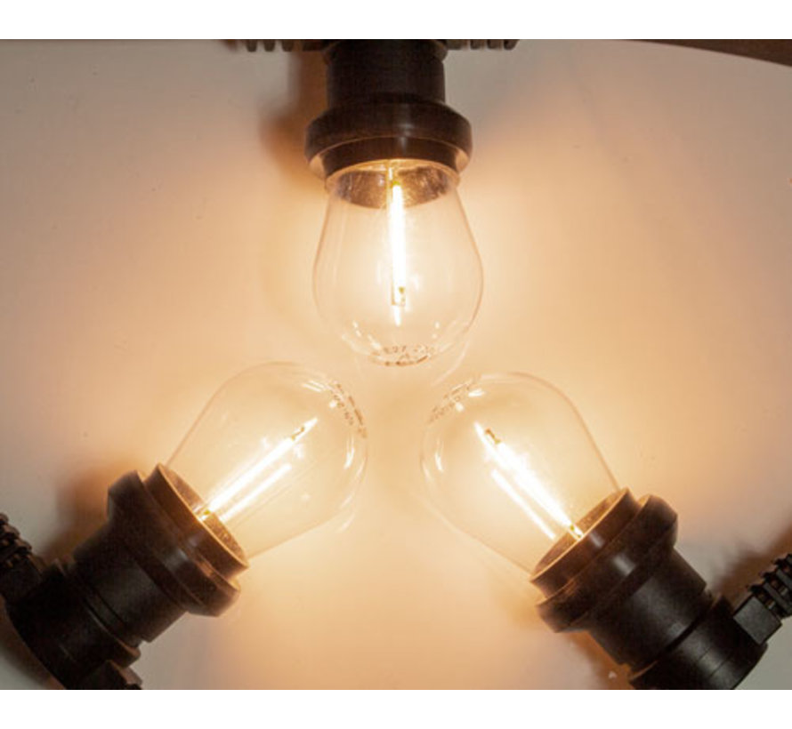 Zwarte prikkabel met warm  witte filament LED lampen