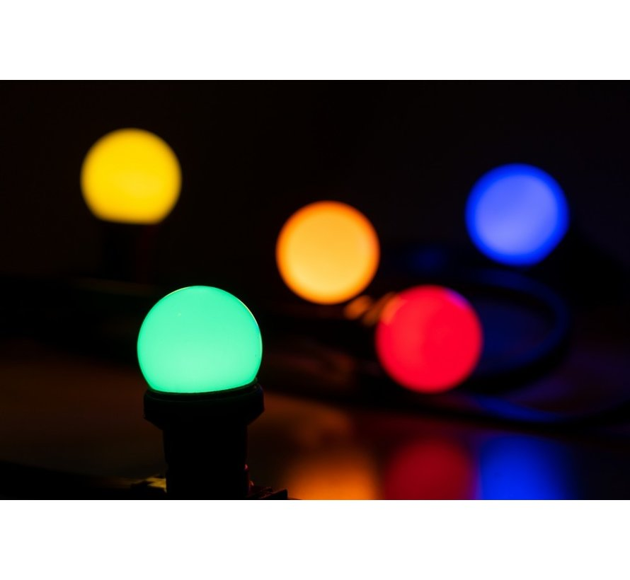 prikkabel - 20 meter met 60 LED lampen  (5 kleuren)