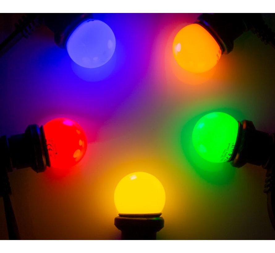 Set van 10 LED lampen in 5 kleuren