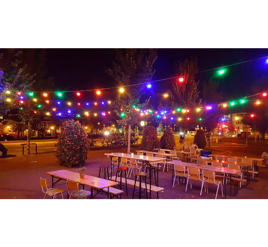 prikkabel - 15 meter met 15 LED lampen  (5 kleuren)
