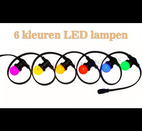 Amlux prikkabel - 10 meter met 10 LED lampen  (6 kleuren)
