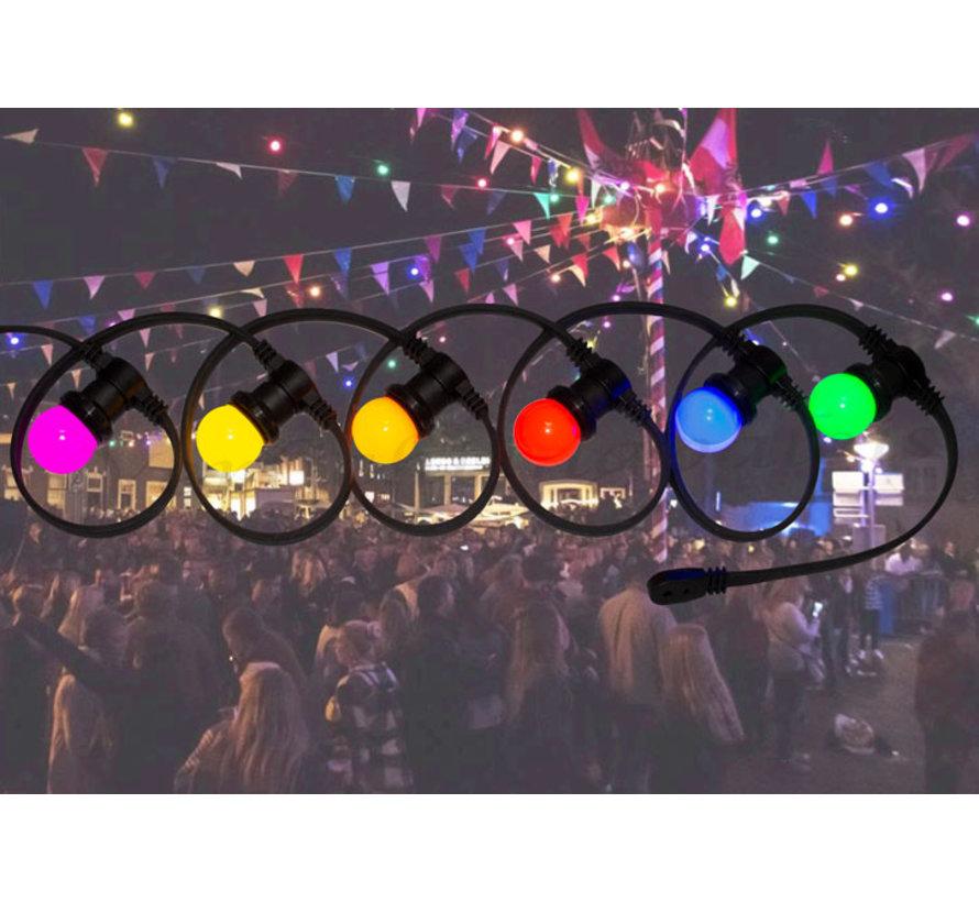 prikkabel - 10 meter met 30 LED lampen  (6 kleuren)