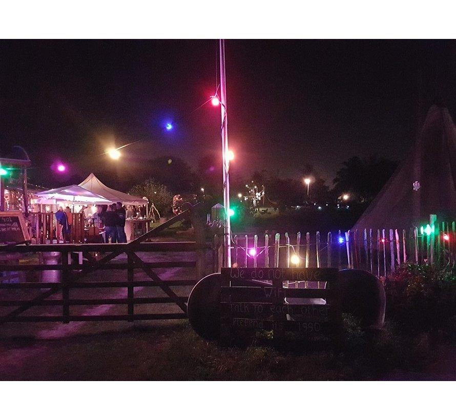 prikkabel - 15 meter met 15 LED lampen  (6 kleuren)