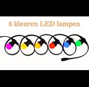 Amlux prikkabel - 15 meter met 15 LED lampen  (6 kleuren)