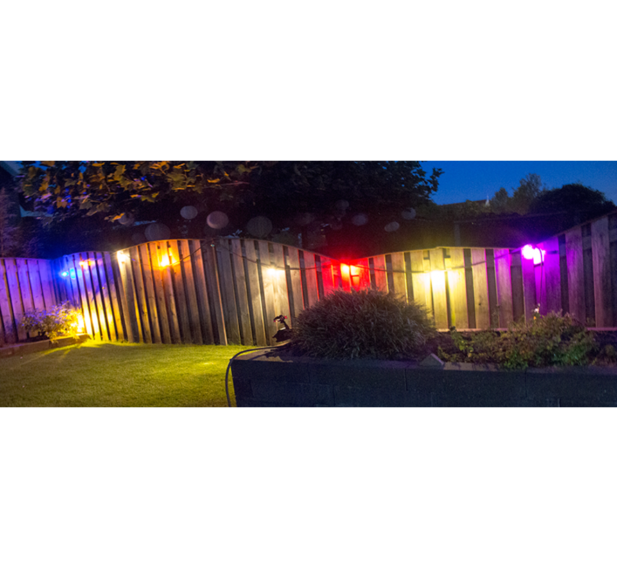 prikkabel - 100 meter met 100 LED lampen  (6 kleuren)