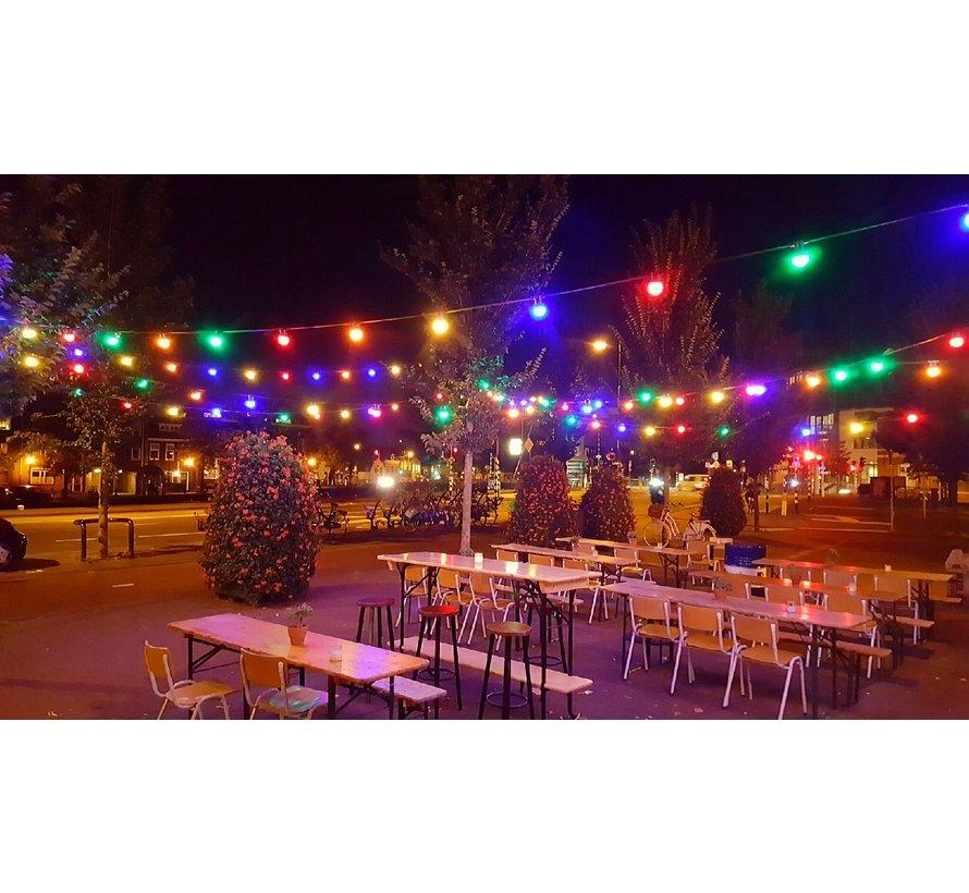 prikkabel - 15 meter met 15 LED lampen  (7 kleuren)