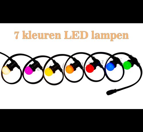 Amlux prikkabel - 15 meter met 15 LED lampen  (7 kleuren)