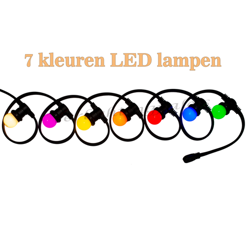 Amlux prikkabel - 10 meter met 20 LED lampen  (7 kleuren)