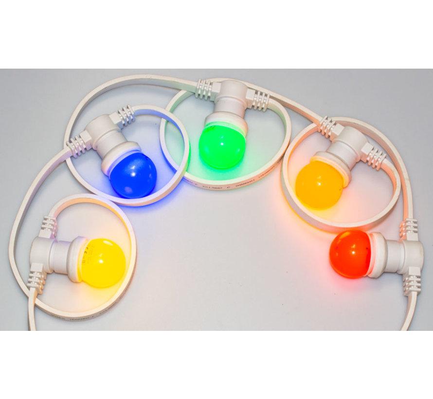 Witte prikkabel 10 meter met 10 gekleurde LED lampen in 5 kleuren mix