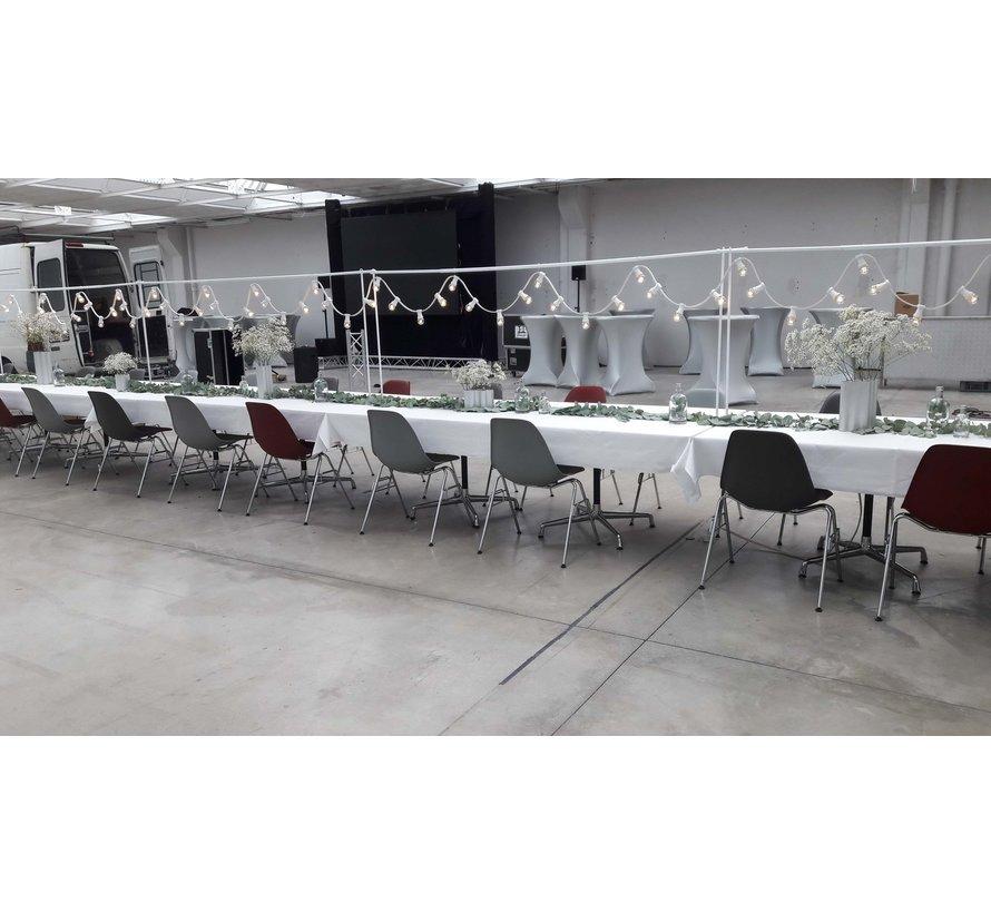 Witte prikkabel 10 meter met 20 gekleurde LED lampen in 5 kleuren mix