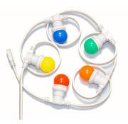 Witte prikkabel 15 meter met 15 gekleurde LED lampen in 5 kleuren mix