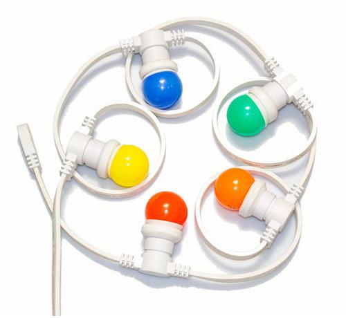 Witte prikkabel 15 meter met 30 gekleurde LED lampen in 5 kleuren mix
