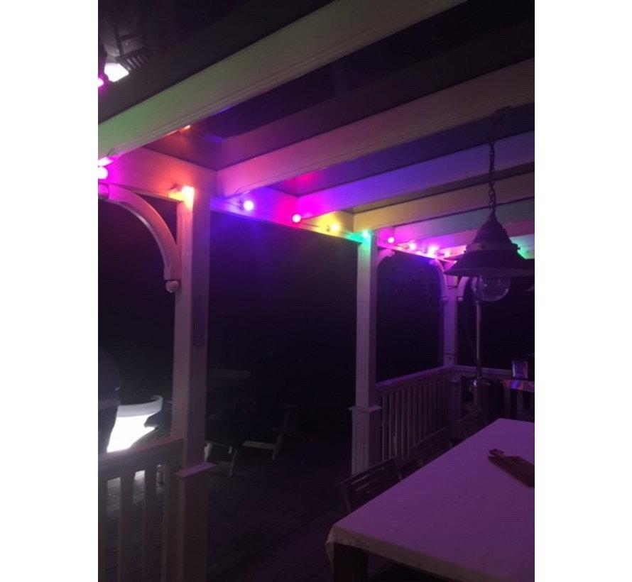 Witte prikkabel 20 meter met 40 gekleurde LED lampen in 5 kleuren mix