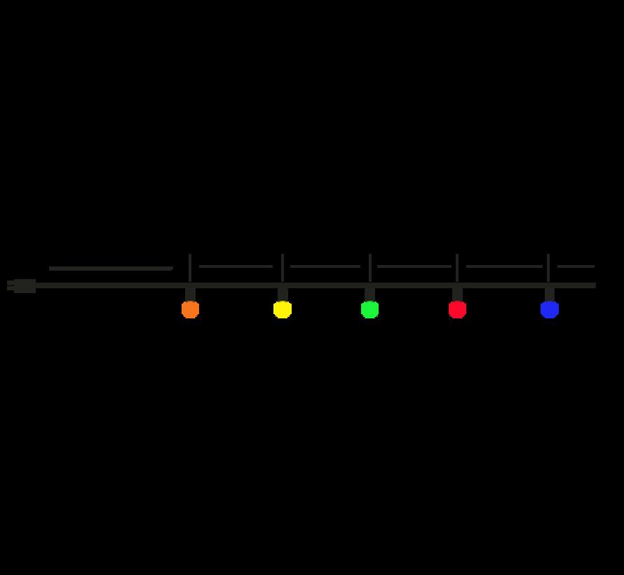 prikkabel - 100 meter met 100 LED lampen  (5 kleuren)