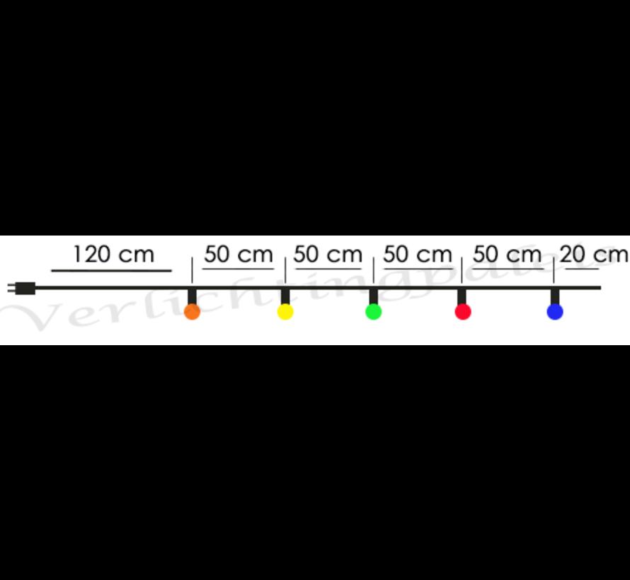 prikkabel - 15 meter met 30 LED lampen  (5 kleuren)