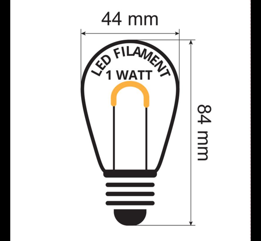 10 meter prikkabel lichtsnoer met 20 warm witte gebogen filament led lampen - 1W