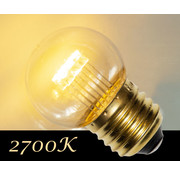 LED kogellamp 0,7W - transparant kap - E27 warm wit