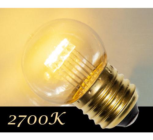 LED kogellamp - 0,7W - transparant kap - E27 2700K