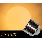 LED kogellamp 1W - witte kap - E27 EXTRA warm wit 2200K- dimbaar