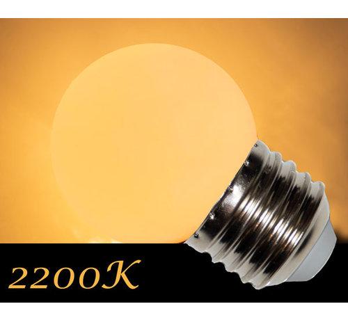 LED kogellamp - 1W - Witte kap - E27 2200K