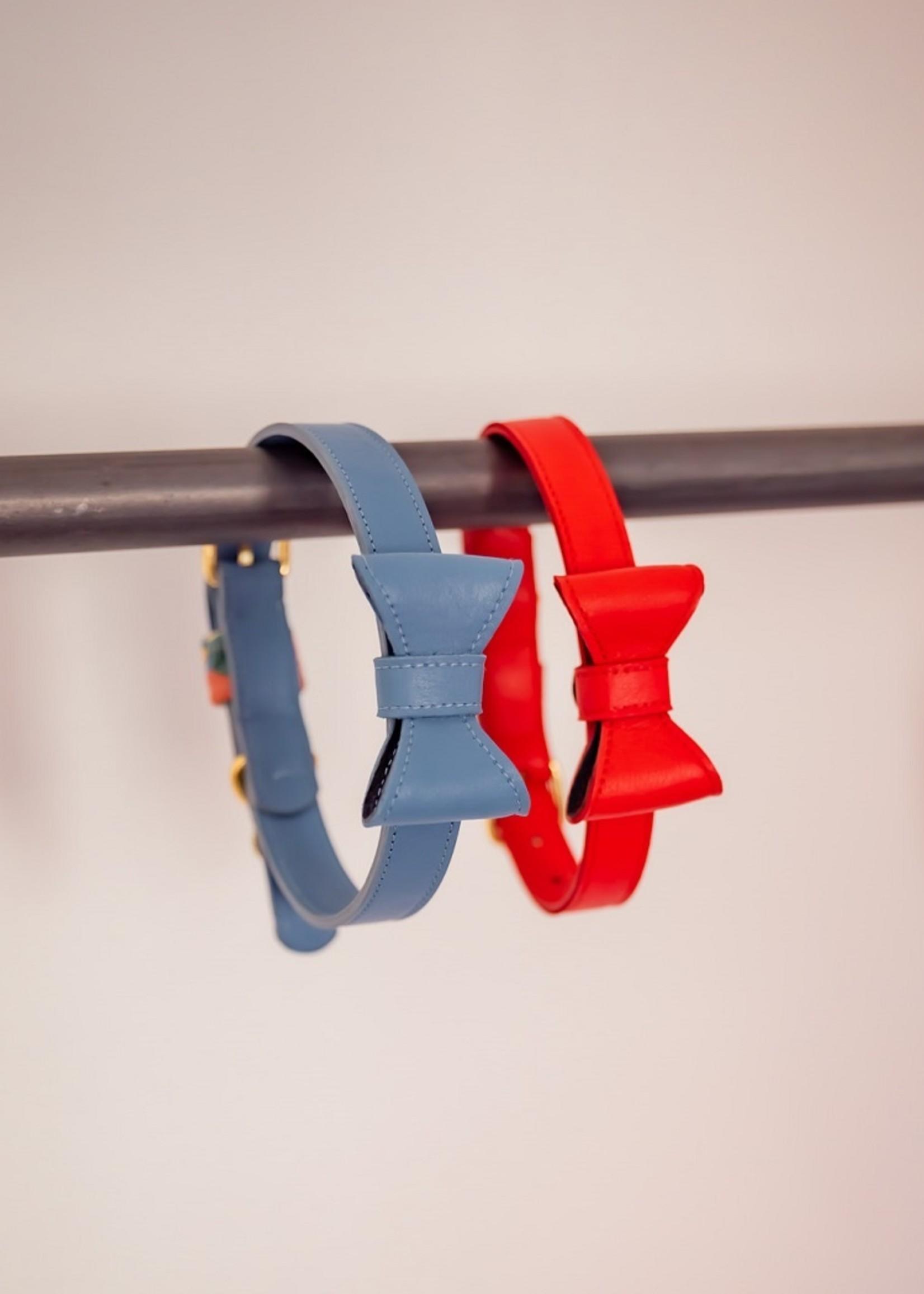 Merry Marie Rode halsband  met strik- SORBET