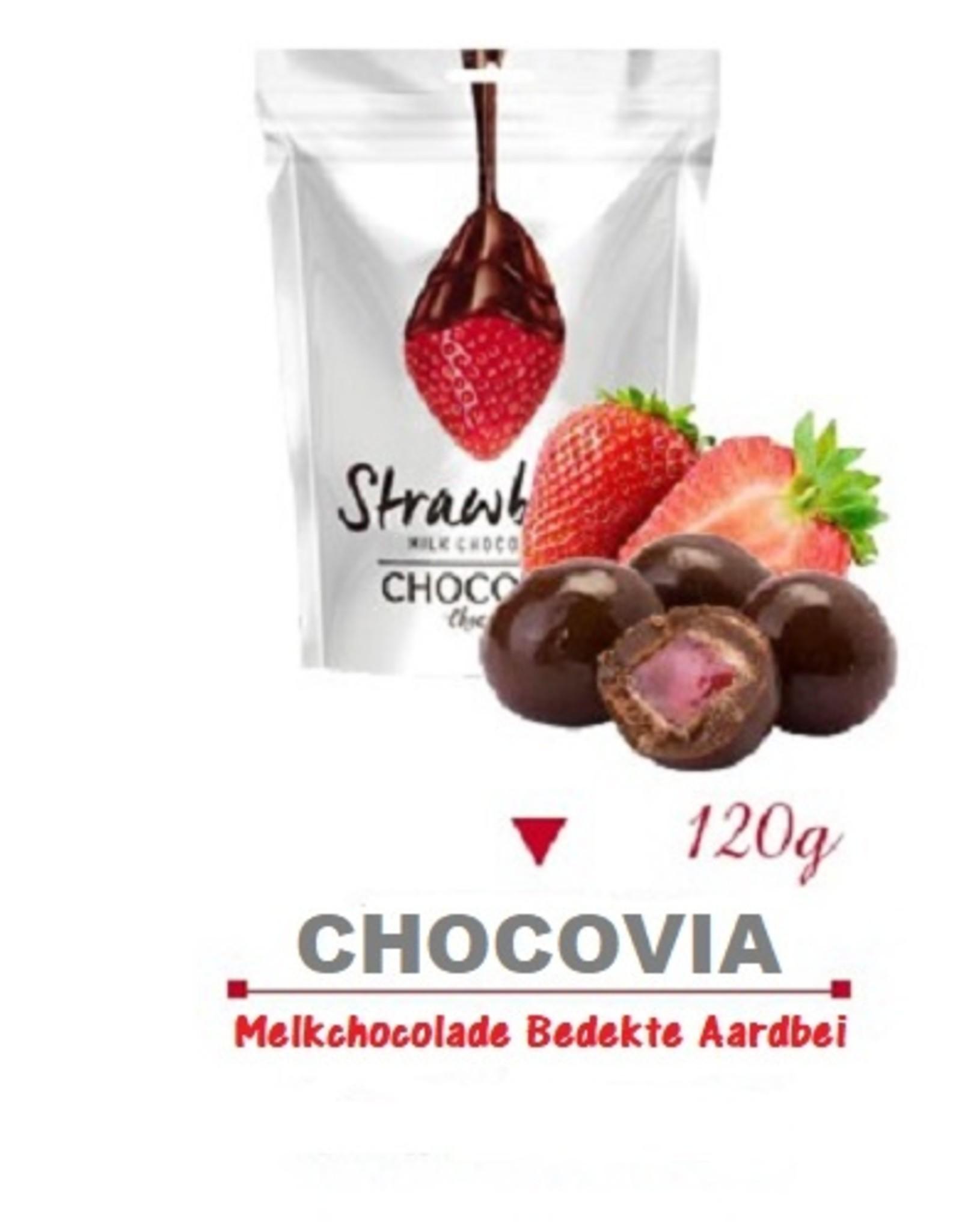 Chocovia  Chocovia Aardbeien melkchocolade 120g