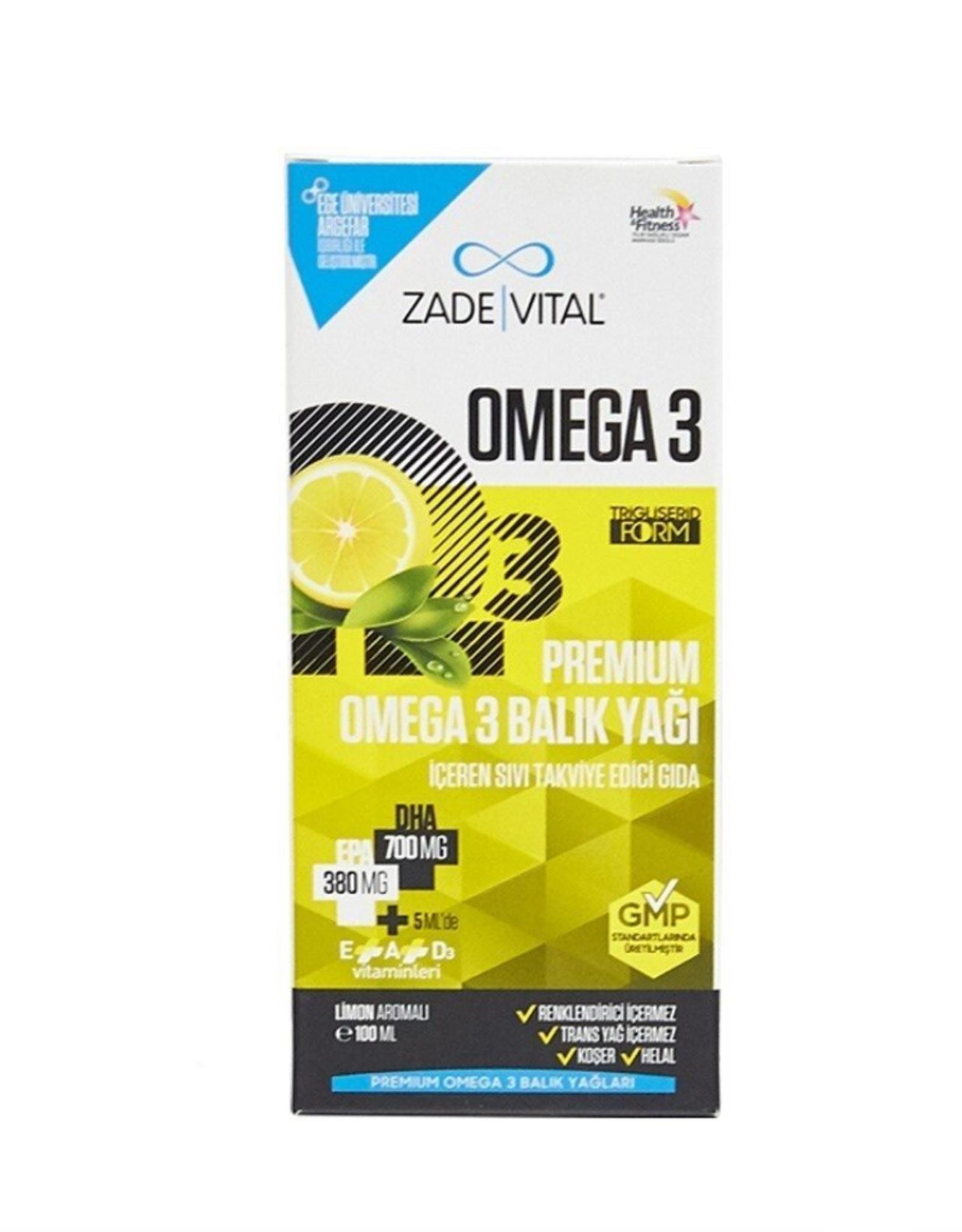 Zade Vital Zade Vital Omega 3 Visolie Premium VOOR KİNDEREN  met citroensmaak- 100 ml