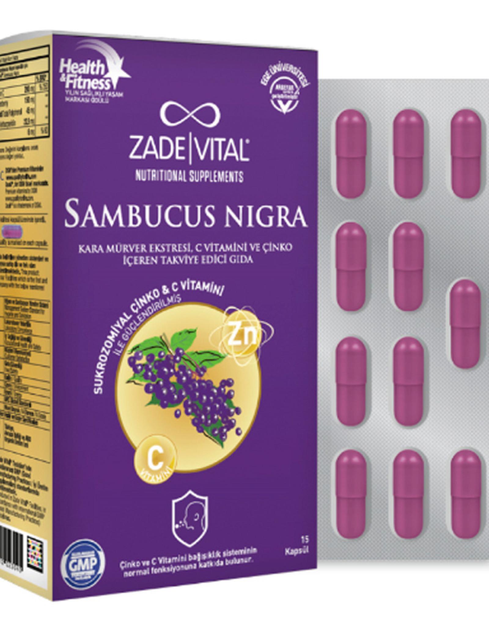 Zade Vital Zade Vital Sambucus Nigra Kara Mürver Ekstreli C Vitamini & Çinko  (15 Kapsül)
