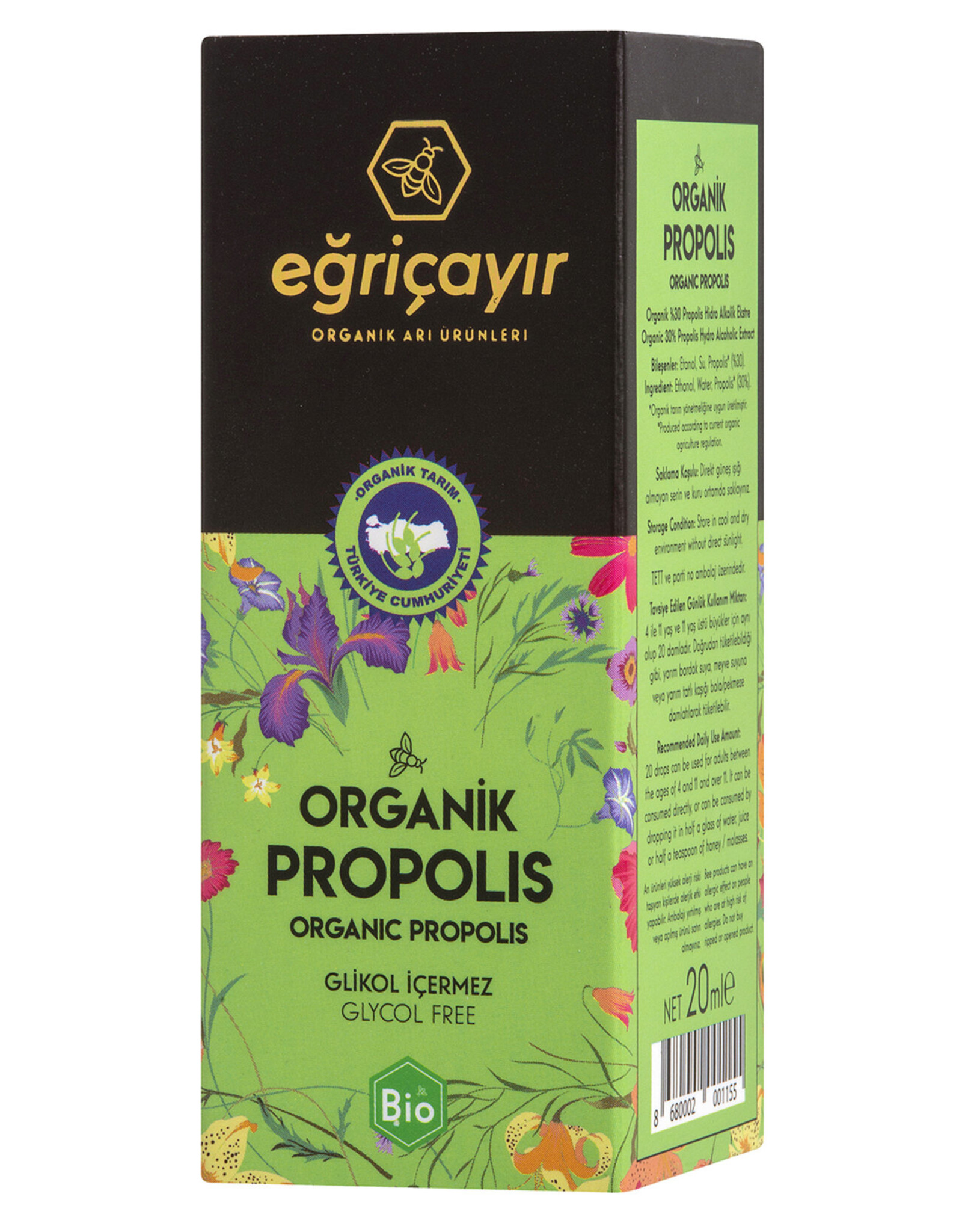 Eğriçayır Eğriçayır Organische Propolis  Druppels 20 ml  (Ethanol)