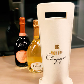 Verpackung Filztasche Creme für Champagner - Geschenkstasche