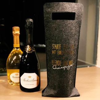 Verpackung Filztasche Anthrazitgrau für Champagner - Geschenkstasche