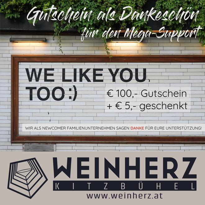 """WEINHERZ Treue-Gutschein € 105,- """"5€ geschenkt"""""""