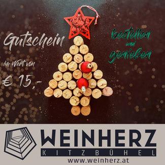Diverse WEINHERZ Weihnachtsgutschein im Wert von € 15,-