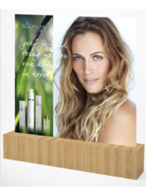 Squalan Display blok hout groot met Jill of Dennis achterwand