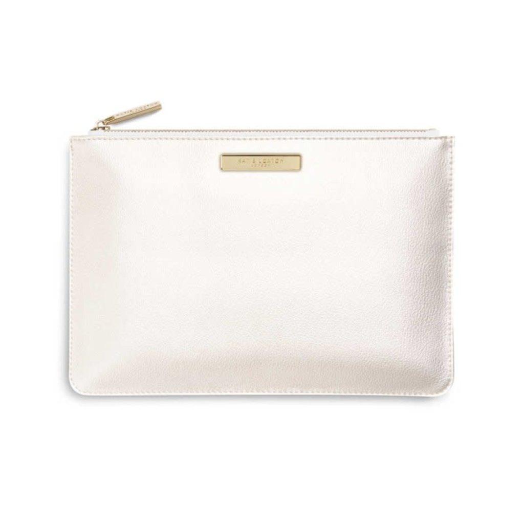 Katie Loxton Soft Pebble Perfect Pouch | Metallic White