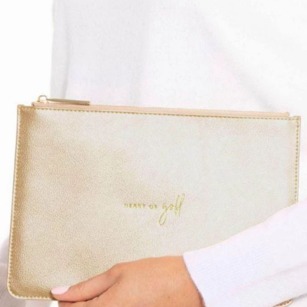 Katie Loxton Perfect Pouch - Heart of Gold / Metallic champagne