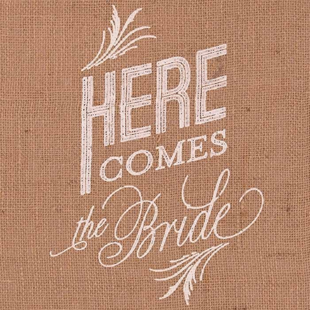 Weddingstar Juten banner - Here comes the Bride (wit)