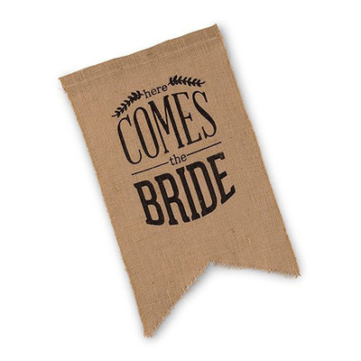 Weddingstar Juten banner - Here comes the Bride zwart