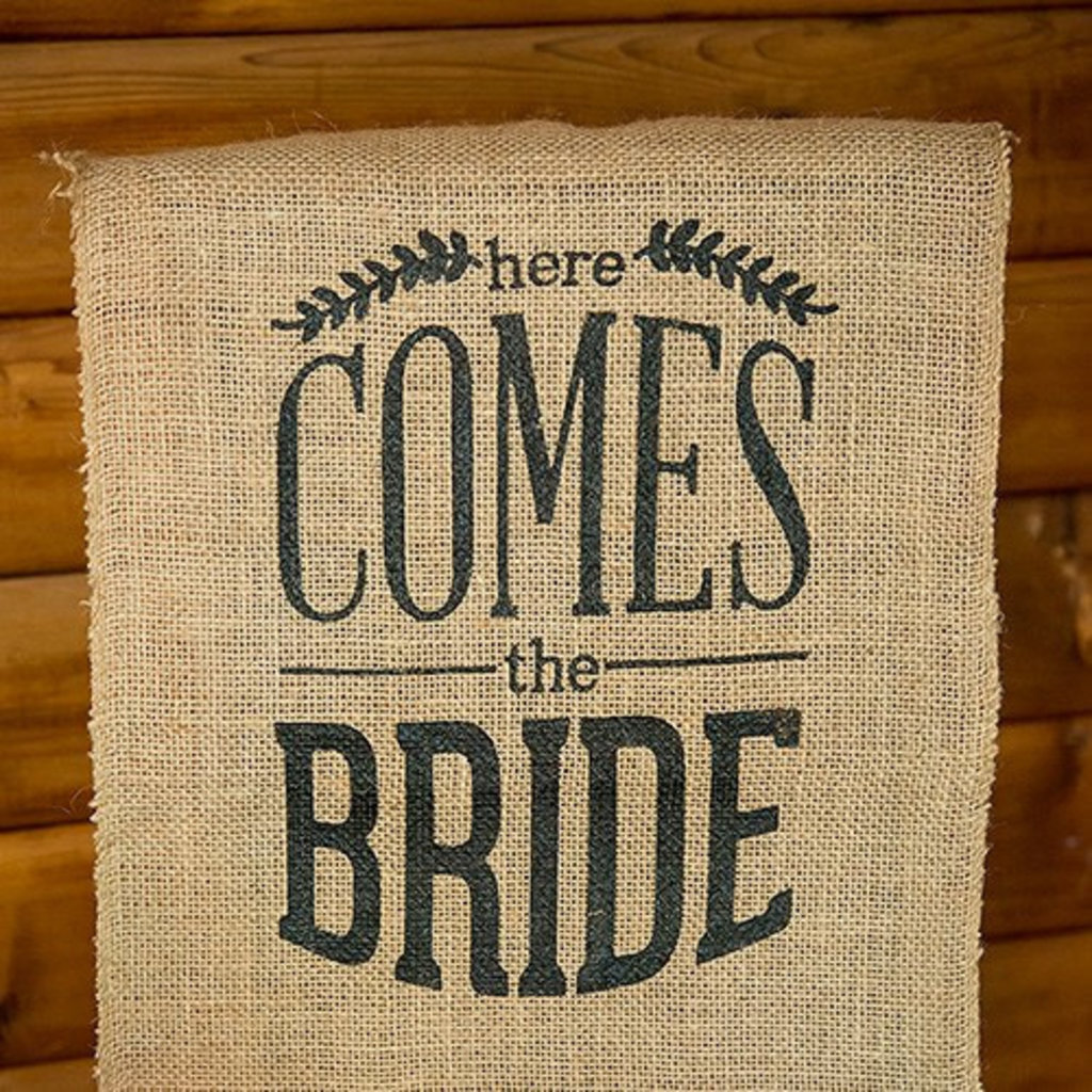 Weddingstar Juten banner - Here comes the Bride zwart