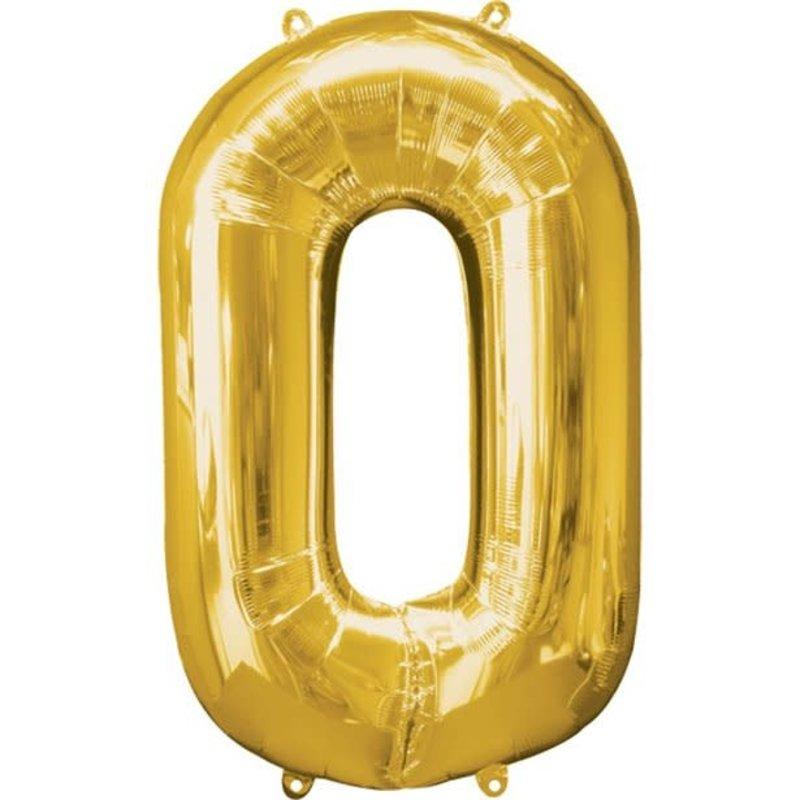 Gouden folieballon - Cijfer 0 - 86cm