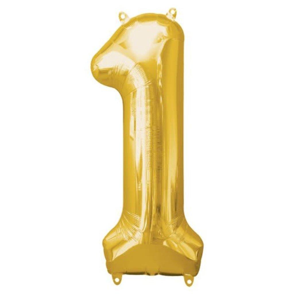 Gouden folieballon - Cijfer 1 - 86cm