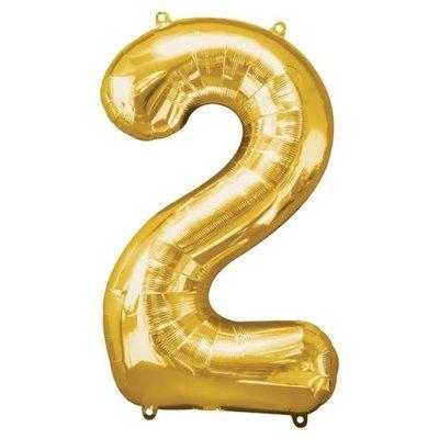 Gouden folieballon - Cijfer 2 - 86cm