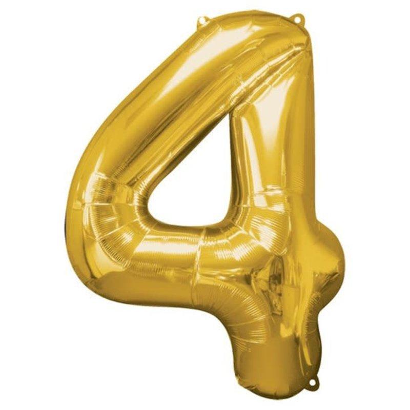 Gouden folieballon - Cijfer 4 - 86cm