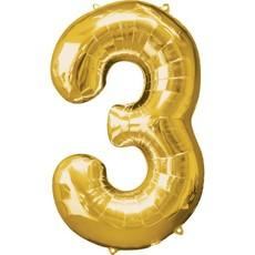 Gouden folieballon - Cijfer 3 - 86cm