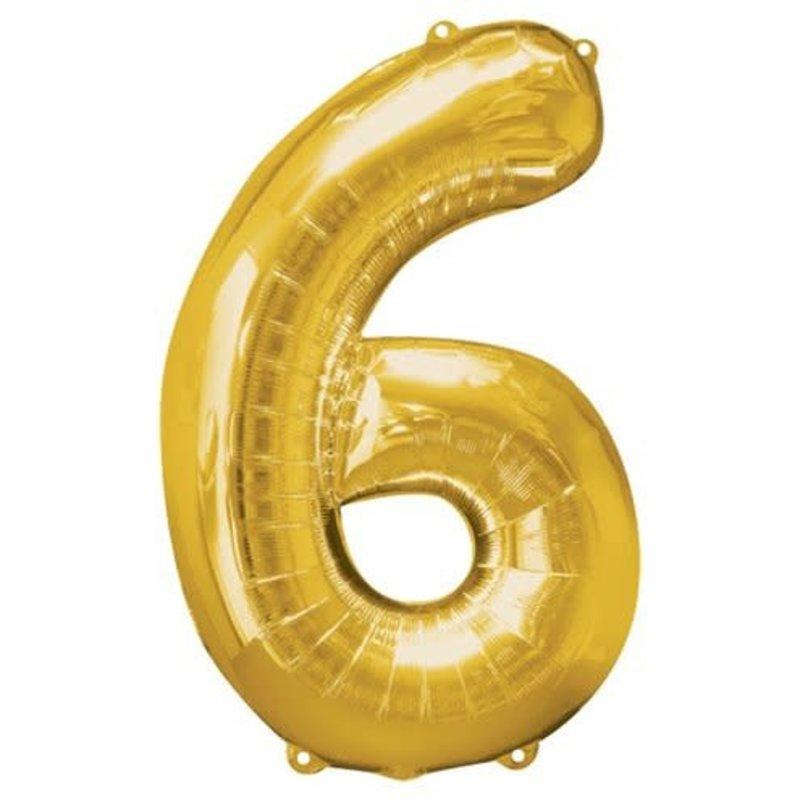 Gouden folieballon - Cijfer 6 - 86cm